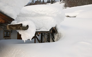 large amounts of snow at our alpine cabin